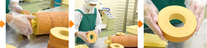 たまごの切り株バームクーヘン 製造工程写真2