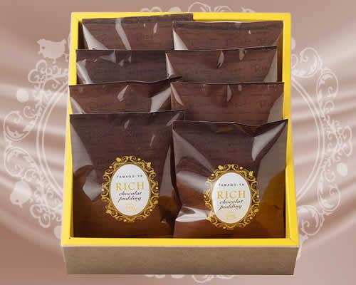 『TAMAGO-YA リッチチョコレートプリン 8個入箱』パッケージ画像
