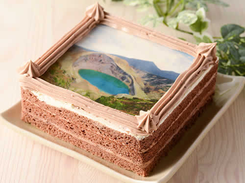 蔵王の思い出 御釜のチョコケーキ[写真]